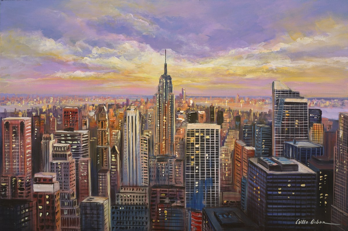 Sunset Over New York II by csilla orban -  sized 36x24 inches. Available from Whitewall Galleries